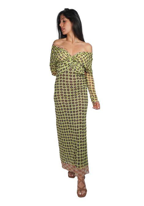 Abbigliamento Donna AbitoLungo Ttribal Dance in Tulle a Fantasia Verde e Oro Maliparmi | Abiti | JF643570494C6020