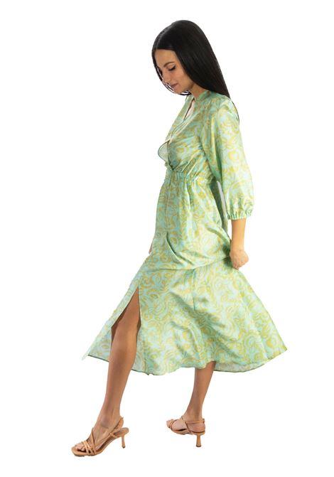 Women's Clothing Long Dress in Turkish Delight Silk Aqua and Gold Maliparmi | Dresses | JF645830111C6018
