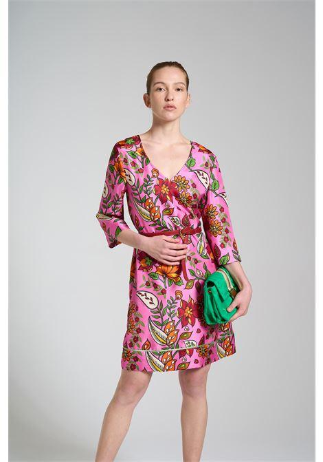 Abbigliamento Donna Abito Midi Collection Print in Seta a fantasia Floreale Rosa Maliparmi | Abiti | JF645930091B3219