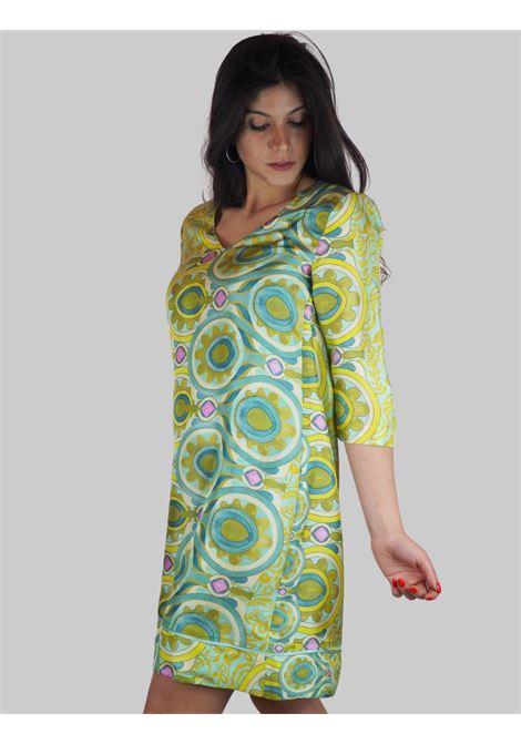 Abbigliamento Donna Abito Midi Collection Print in Seta a fantasia Floreale Verde Maliparmi | Abiti | JF645930091C6032