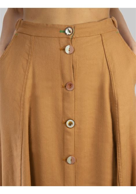 Women's Clothing Long Diagonal Linen Skirt in Ocher Cotton Maliparmi | Skirts and Pants | JG36224007812021