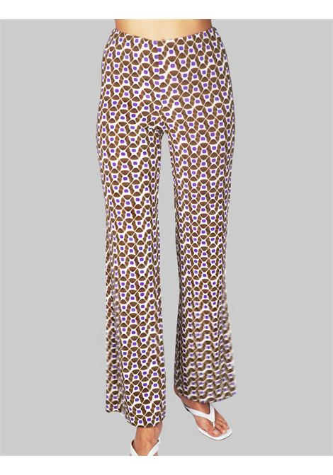 Women's Clothing Beige Printed Happy Frame Jersey Trousers Maliparmi | Skirts and Pants | JH400970493B1104