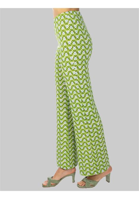 Women's Clothing Green Fantasy Happy Frame Jersey Trousers Maliparmi | Skirts and Pants | JH400970493C6015