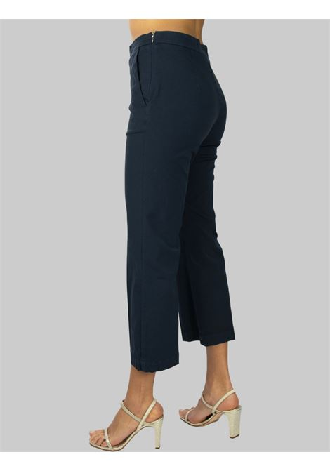 Women's Clothing Stretch Satin Cotton Pants Navy Blue Maliparmi | Skirts and Pants | JH71441013780000