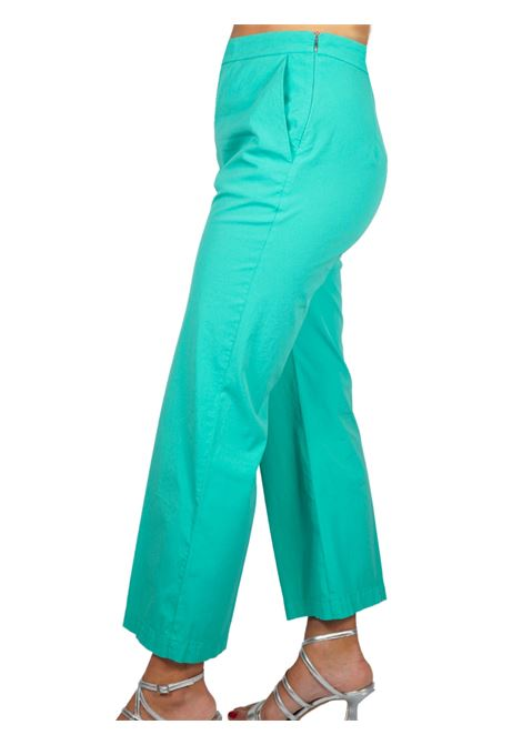 Abbigliamento Donna Pantalone Stretch Satin Cotton Turchese Maliparmi | Gonne e Pantaloni | JH71441013782012