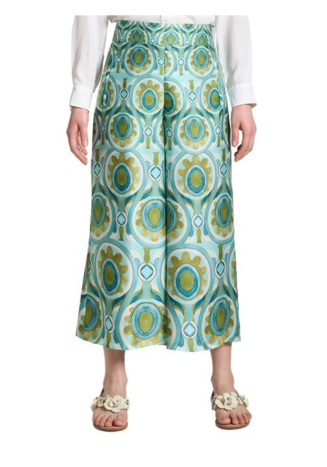 Women's Clothing Ottoman Twill Trousers with Turquoise and Gold Pattern Maliparmi | Skirts and Pants | JH719160046A8207