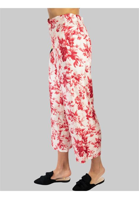 Women's Clothing Fantasy Collection Print Trousers in Pure Pink and Red Silk Maliparmi | Skirts and Pants | JH720030091B3242