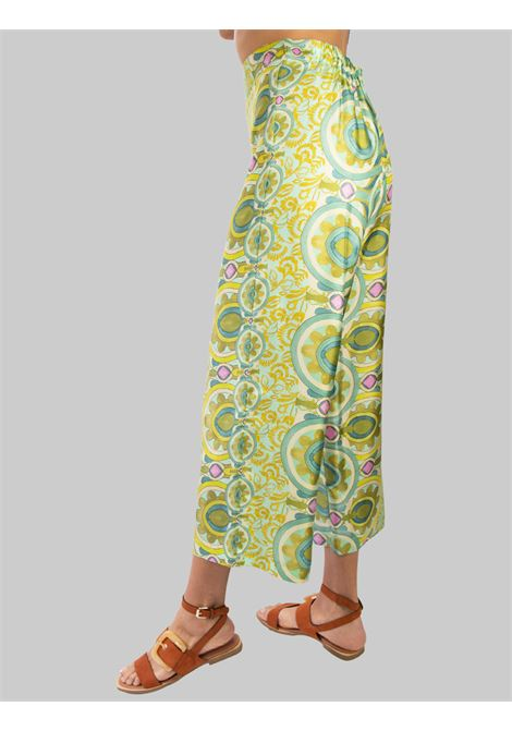 Women's Clothing Fantasy Collection Print Trousers in Pure Green and Pink Silk Maliparmi | Skirts and Pants | JH720030091C6032
