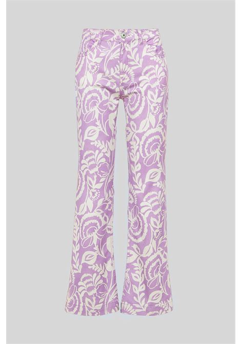 Women's Clothing Trumpet Trousers Soft Cotton Blend Cashmere Print with Pink Fantasy Maliparmi | Skirts and Pants | JH720410129A5106