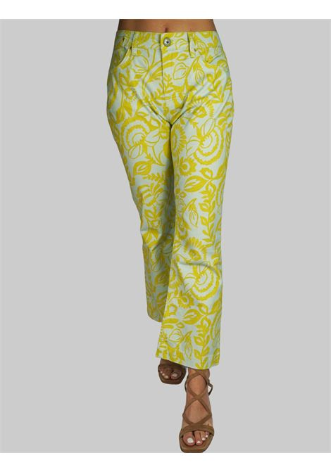 Abbigliamento Donna Pantalone Trombetta Soft Cotton misto Cachemire Print a Fantasia Acqua Maliparmi | Gonne e Pantaloni | JH720410129C6018