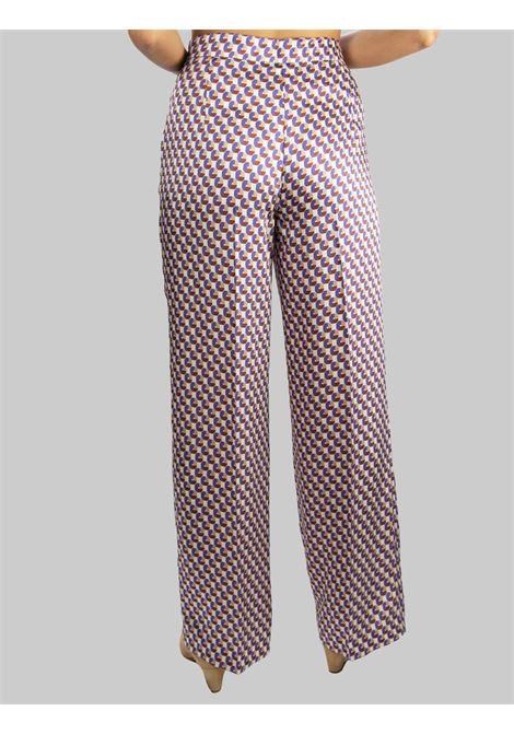 Abbigliamento Donna Pantalone Geometric Twill Gamba Diritta in Biege e Viola Maliparmi | Gonne e Pantaloni | JH738560047B1236
