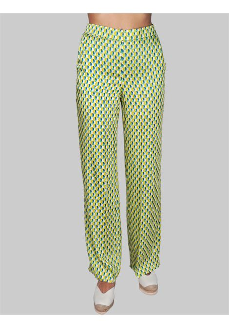 Women's Clothing Geometric Twill Straight Leg Trousers in Lime Maliparmi | Skirts and Pants | JH738560047C6026