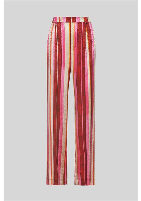 Abbigliamento Donna Pantalone Gamba Dritta Stripes Jacquard a Rigoni Rosa e Rossi Maliparmi | Gonne e Pantaloni | JH743250557B3223