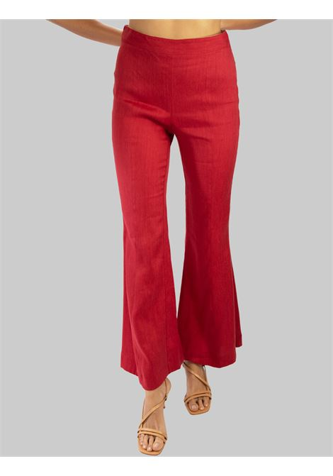 Women's Clothing Diagonal Linen Linen Trousers with Wide Leg in Purple Maliparmi | Skirts and Pants | JH74454007830032
