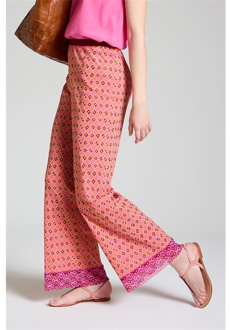 Women's Clothing Tribal Dance Trousers in Pink and Gold Printed Stretch Tulle Maliparmi | Skirts and Pants | JH745770494B3221
