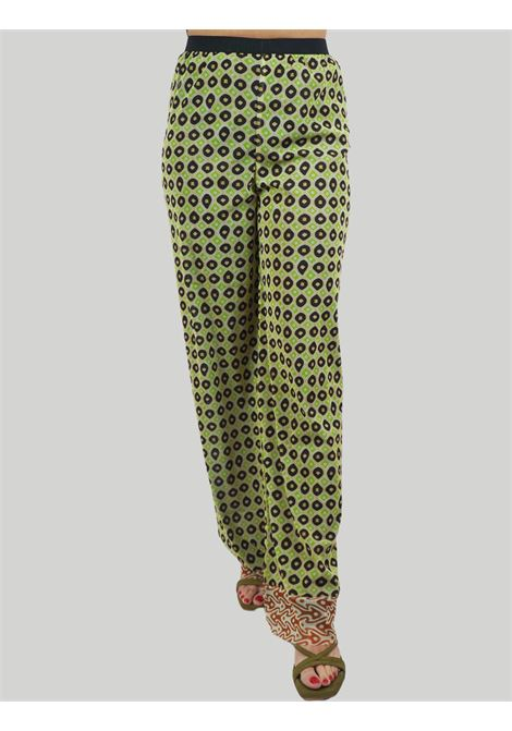 Women's Clothing Tribal Dance Pants in Green and Gold Printed Stretch Tulle Maliparmi | Skirts and Pants | JH745770494C6020