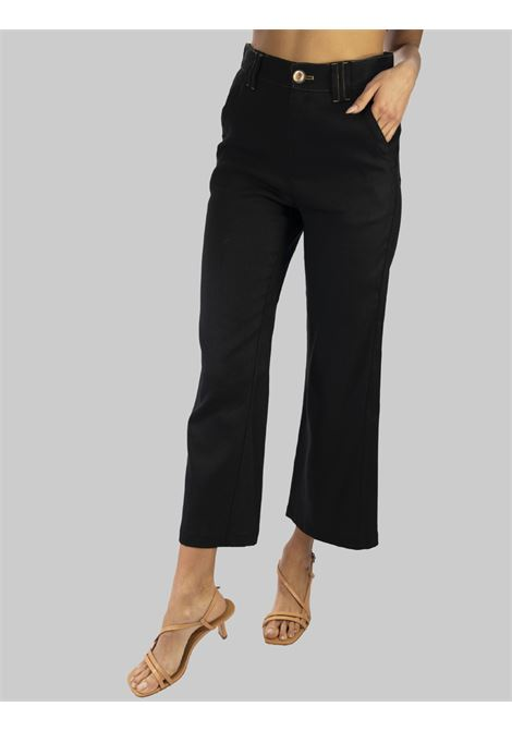 Women's Clothing Diagonal Linen Trousers Jeans Cut American Pockets in Black Linen Maliparmi | Skirts and Pants | JH74614007820000
