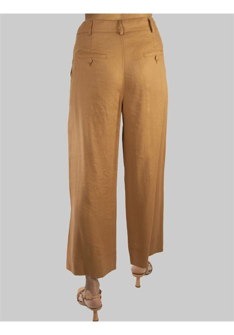 Women's Clothing Diagonal Linen Trousers with Wide Leg in Ocher Linen Maliparmi | Skirts and Pants | JH74664007812021