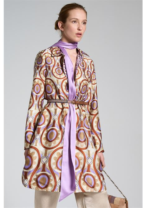 Women's Clothing Double Face Duster Coat in Beige and Purple Patterned Twill Patch Maliparmi |  | JI013360049B1229