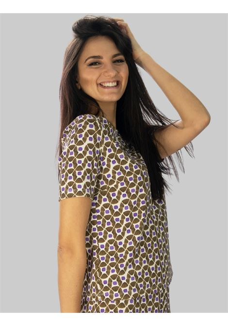 Women's Clothing Jersey Happy Frame Beige and Natural Patterned T-shirt Maliparmi |  | JK018370493B1104