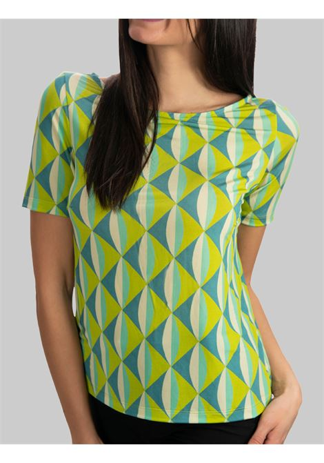 Women's Clothing Jersey T-shirt Symmetria Boat Neckline Aqua Green Fantasy Maliparmi |  | JK018370496A8208