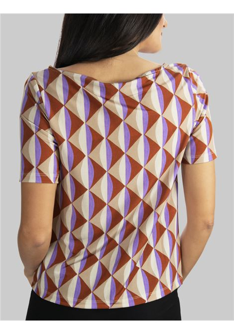 Women's Clothing T-shirt Jersey Symmetria Natural Boat Neck and Fantasy Mauve Maliparmi |  | JK018370496B1106