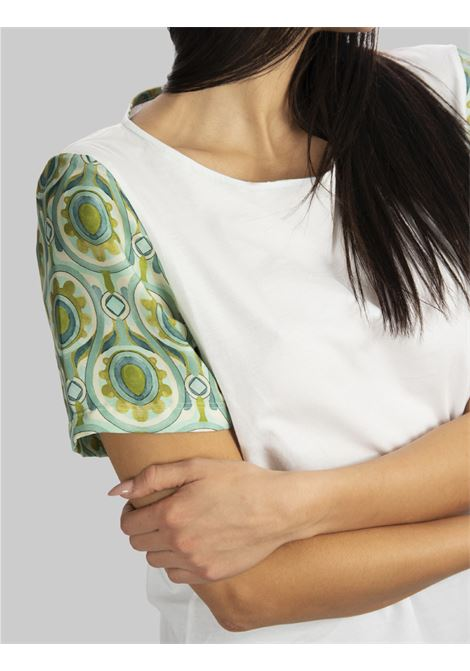 Women's Clothing Patch T-shirt in Pure White Cotton and Printed Half Sleeve Maliparmi |  | JK02057049510000