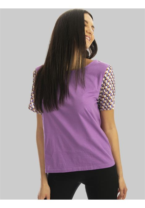 Women's Clothing T-shirt Patch in Pure Cotton Wisteria and Half Sleeve with Fantasy Maliparmi |  | JK02057049551036