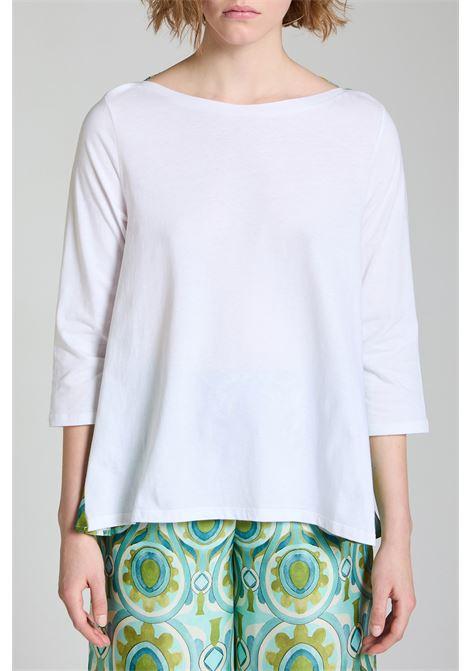 Abbigliamento Donna T-shirt Jersey Patch in Cotone Bianco con Maniche in Twill Stampato Verde a Fantasia Maliparmi | T-shirt e Canotte | JK02067049510000