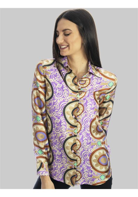 Women's Clothing Collection Print Shirt in Pure Mauve Patterned Silk Maliparmi | Shirts and tops | JM214430091A5108