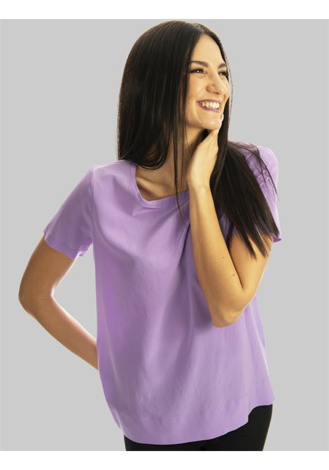 Women's Clothing T-shirt Crepe de Chine Blouse in Pure Silk Half Sleeve Wisteria Maliparmi | Shirts and tops | JM42123004451036