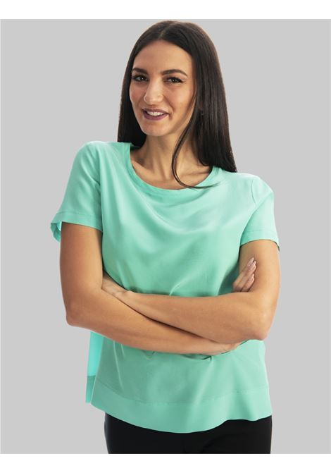 Abbigliamento Donna T-shirt Blusa Crepe de Chine in Pura Seta Mezza Manica Turchese Maliparmi | Camicie e Top | JM42123004482012