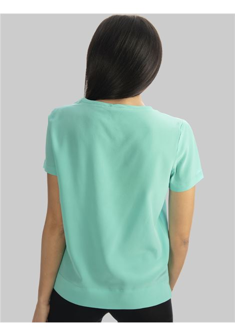 Women's Clothing T-shirt Crepe de Chine Blouse in Pure Silk Half Sleeve Turquoise Maliparmi | Shirts and tops | JM42123004482012