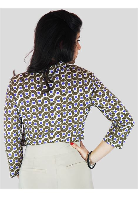 Women's Clothing Shirt in Jersey Happy Frame Long Sleeve with Beige and Mauve Pattern Maliparmi | Shirts and tops | JM440770493B1104