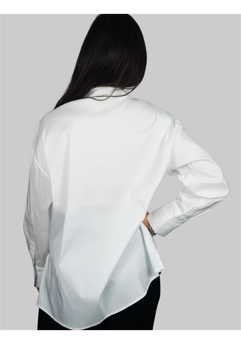 Women's Clothing Shirt in White Cotton Popeline Long sleeve with Jewel Button Maliparmi | Shirts and tops | JM44681010310000