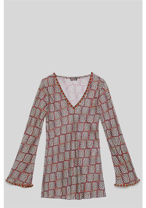 Women's Clothing Sweater Geometric Palms Shirt with V-Neck Cream with Fantasy Maliparmi | Shirts and tops | JM447750551B1226