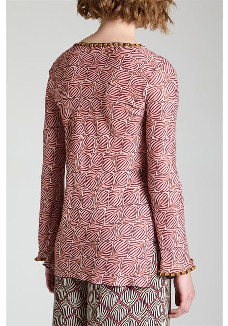 Women's Clothing Sweater Geometric Palms Shirt with Pink V-Neck Pattern Maliparmi | Shirts and tops | JM447750551B3213