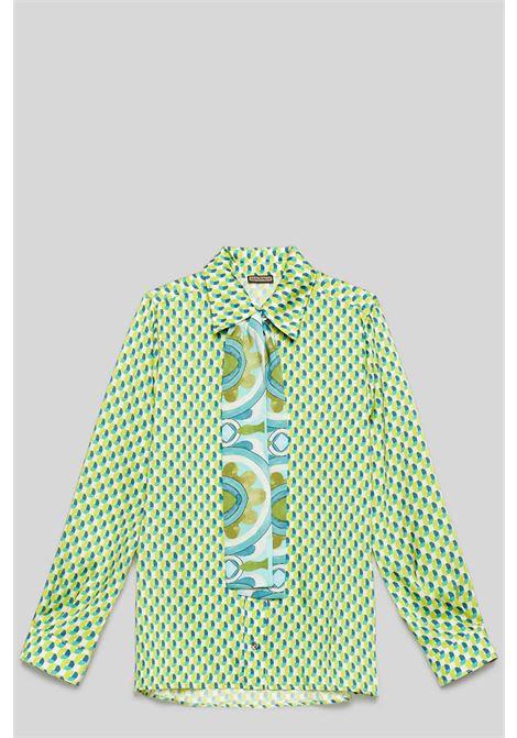Abbigliamento Donna CamiciaTwill Patch Verde e Turchese con Cravattina Maliparmi | Camicie e Top | JM452660049A8207