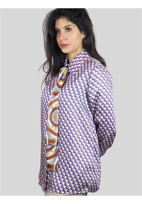 Women's Clothing Beige and Mauve Twill Patch Shirt with Tie Maliparmi | Shirts and tops | JM452660049B1229
