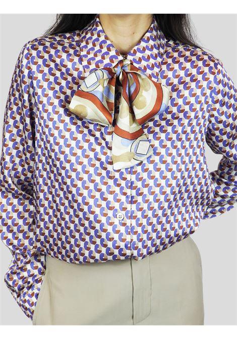 Abbigliamento Donna CamiciaTwill Patch Beige e Malva con Cravattina Maliparmi | Camicie e Top | JM452660049B1229