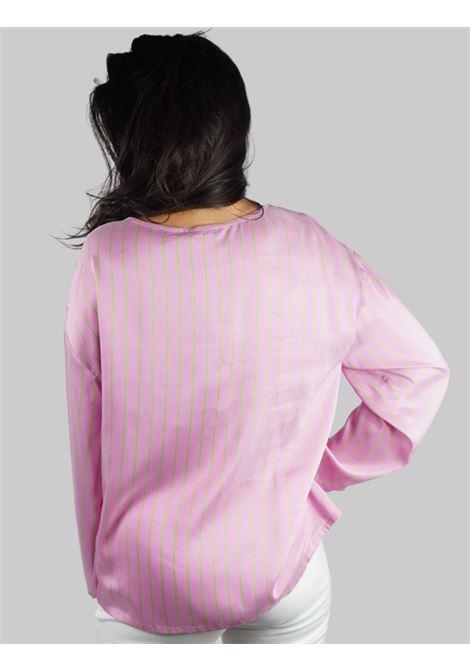 Women's Clothing Shirt Long Sleeve T-shirt in Pure Silk Stripes on Silk Pink and Green Maliparmi |  | JM45275055632B60