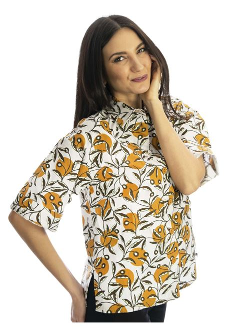 Women's Clothing Shirt in Cotton Poplin Dotty Ramage Half Sleeve Natural and Ocher Maliparmi | Shirts and tops | JM452810138B1105