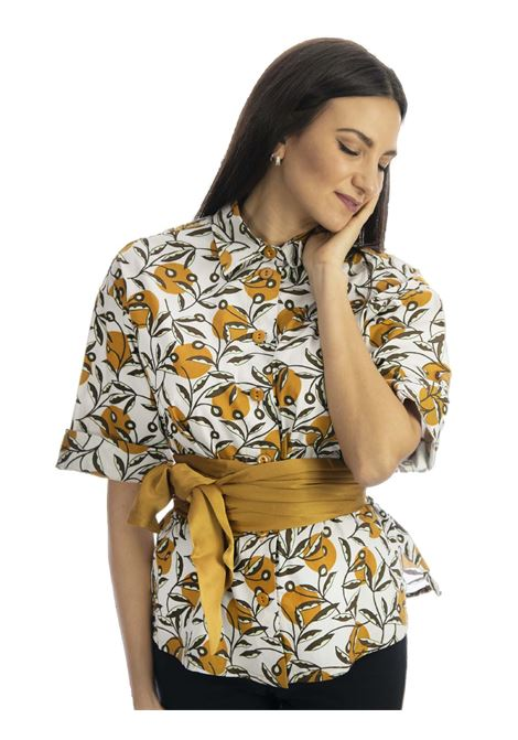 Abbigliamento Donna Camicia in Cotone Popeline Dotty Ramage Mezza Manica Naturale e Ocra Maliparmi   Camicie e Top   JM452810138B1105