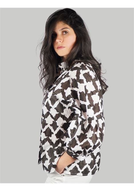 Women's Clothing Seersucker Ceres Shirt in Cotton Black and White Balloon Sleeve Maliparmi | Shirts and tops | JM453010139A1051