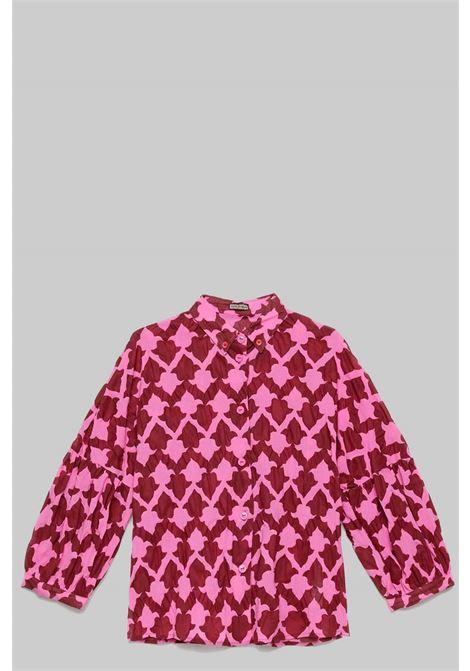 Abbigliamento Donna Camicia Seersucker Ceres in Cotone Manica a Palloncino Rosa e Rosso Maliparmi | Camicie e Top | JM453010139B3220