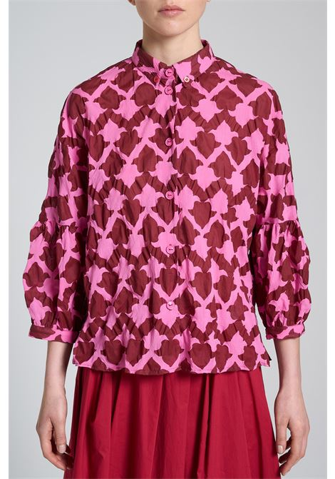 Women's Clothing Shirt Seersucker Ceres in Cotton Balloon Sleeve Pink and Red Maliparmi | Shirts and tops | JM453010139B3220