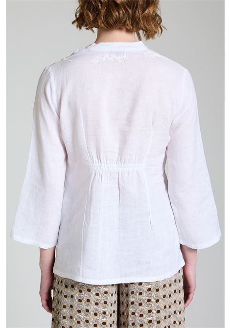 Women's Clothing Ramage Shirt Sweater in Pure White Linen with Matching Embroidery Maliparmi | Shirts and tops | JM54234007310000