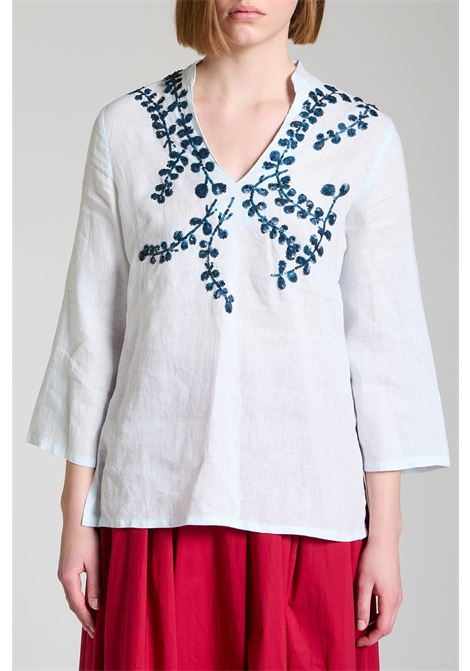 Women's Clothing Ramage Shirt Sweater in Pure White Linen with Blue Embroidery Maliparmi | Shirts and tops | JM54234007381003