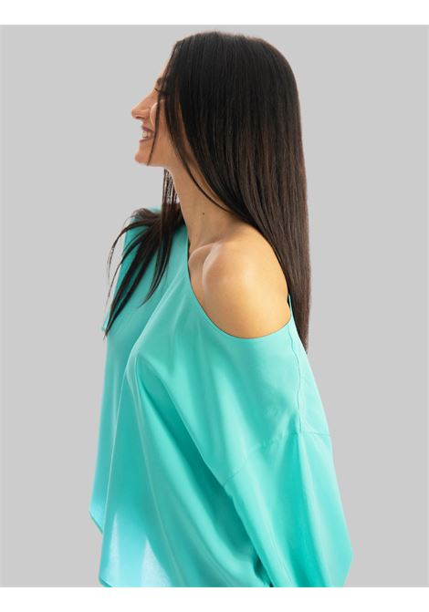 Women's Clothing T-shit in Silk Crepe de Chine Over in Turquoise Maliparmi | Shirts and tops | JM54243004482012