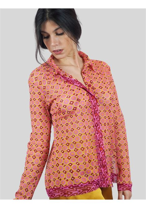 Women's Clothing Tribal Dance Shirt in Pink and Gold Patterned Tulle with Long Sleeves Maliparmi | Shirts and tops | JM542670494B3221